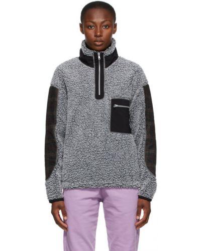 Флисовый белый свитер с воротником с карманами Rassvet