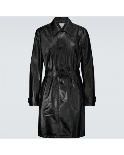 Czarny płaszcz bawełniany zapinane na guziki Bottega Veneta