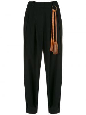 Зауженные черные брюки из вискозы НК
