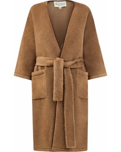 Бежевое шерстяное пальто оверсайз Etro
