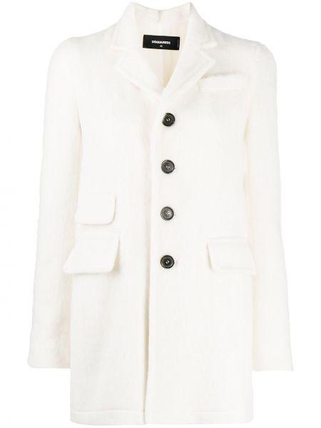 Белое однобортное шерстяное длинное пальто с воротником Dsquared2