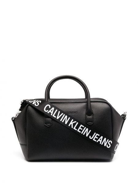 Z paskiem czarny jeansy z łatami Calvin Klein Jeans