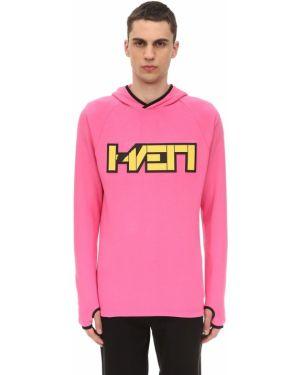 Prążkowana różowa bluza z kapturem Haervaerk
