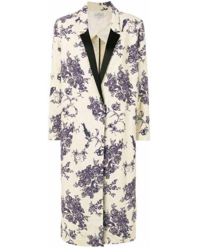 Бежевое пальто с цветочным принтом Forte Forte