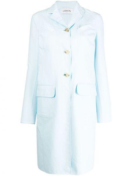 Однобортное синее длинное пальто с капюшоном Lanvin