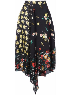 Czarna spódnica asymetryczna z jedwabiu Derek Lam