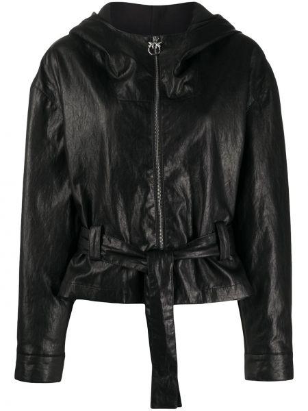 Кожаная куртка с капюшоном длинная Pinko