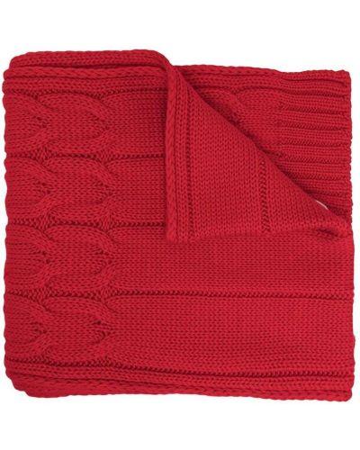 Шерстяной красный шарф в рубчик Moncler Kids