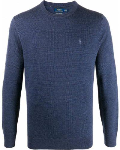 Wełniany niebieski koszulka polo z haftem z długimi rękawami Polo Ralph Lauren