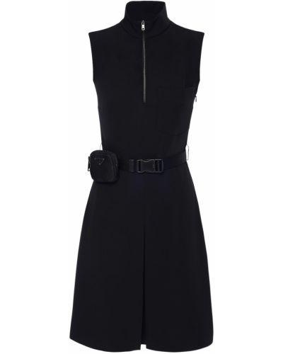 Платье с карманами - черное Prada