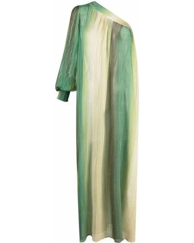 Шелковое зеленое платье макси на одно плечо Anjuna