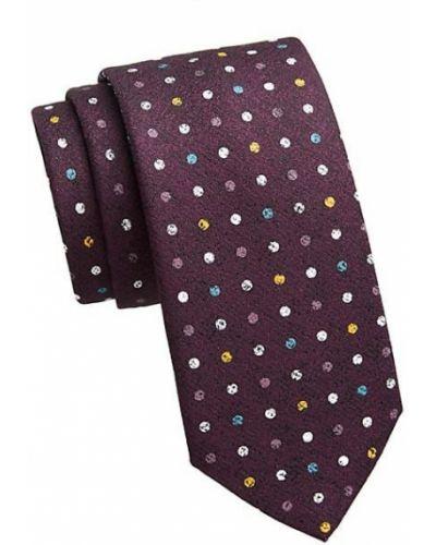 Fioletowy krawat elegancki w grochy Saks Fifth Avenue