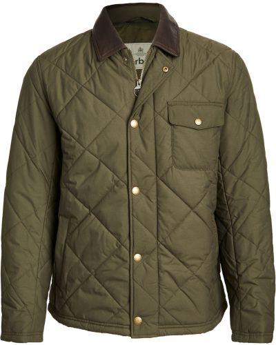 Зеленая стеганая кожаная куртка Barbour