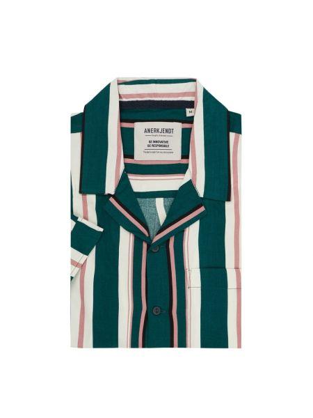 Zielona koszula krótki rękaw w paski Anerkjendt