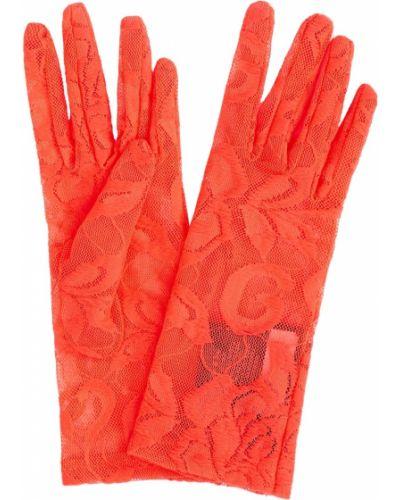 Кружевные красные перчатки из вискозы Gucci