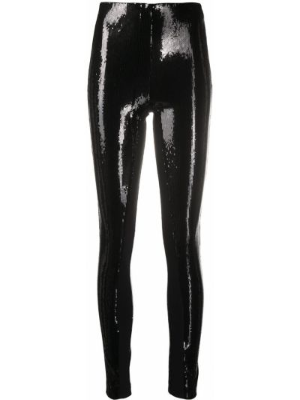 Wyposażone czarny legginsy z wiskozy Karl Lagerfeld