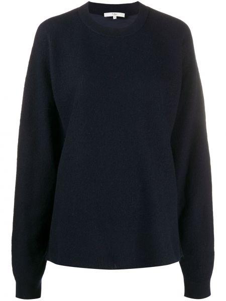 Синий комбинированный вязаный свитер в рубчик Tibi
