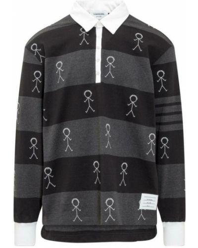 Czarna koszulka z długimi rękawami Thom Browne