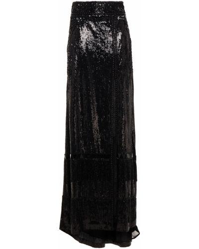 Długa spódnica z szyfonu - czarna Dundas