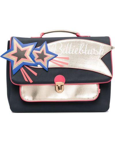 Со звездами синий портфель с нашивками Billieblush