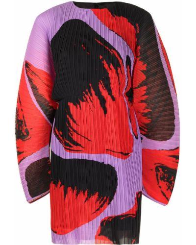 Плиссированное платье мини в цветочный принт с вырезом Solace London