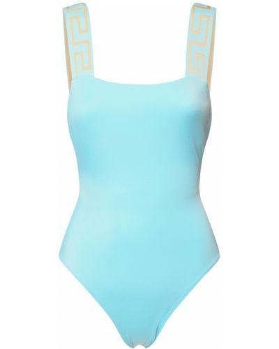 Синий слитный купальник на резинке на бретелях Versace