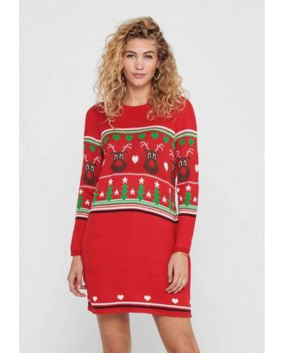 Трикотажное красное вязаное платье Only