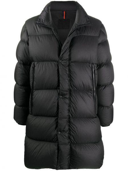 Puchaty czarny prosto długi płaszcz z długimi rękawami Moncler