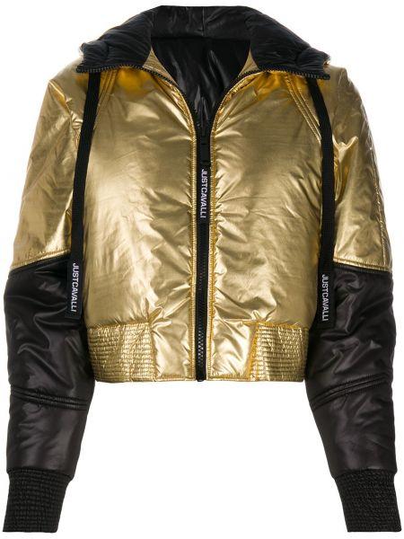 Золотистая черная длинная куртка с капюшоном Just Cavalli