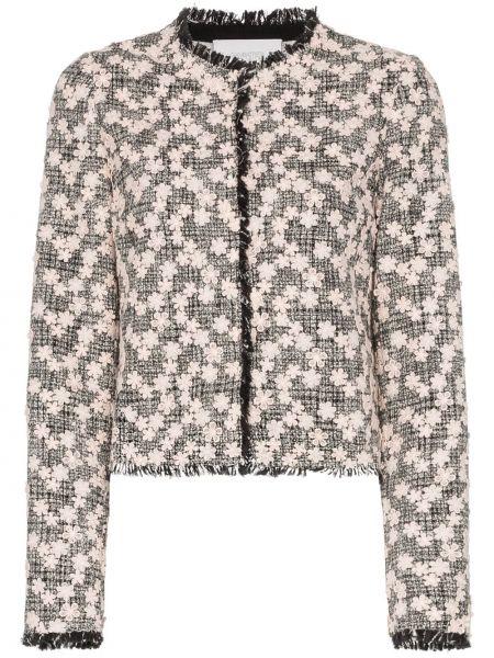 Черный удлиненный пиджак твидовый с воротником Giambattista Valli
