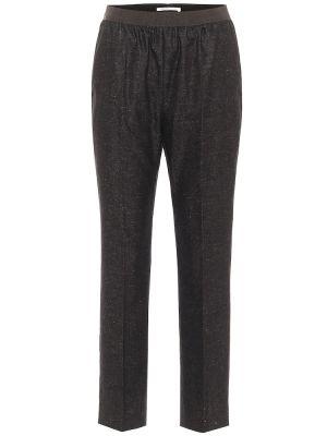 Шерстяные прямые черные брюки Agnona
