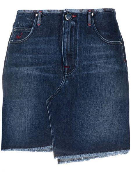 Синяя джинсовая юбка с поясом пэчворк Jacob Cohen