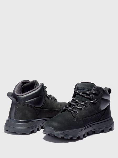 Черные ботильоны на шнуровке из нубука Timberland