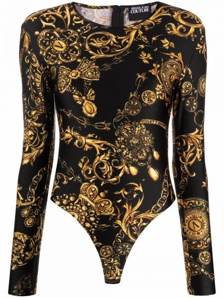 Черное джинсовое боди Versace Jeans Couture