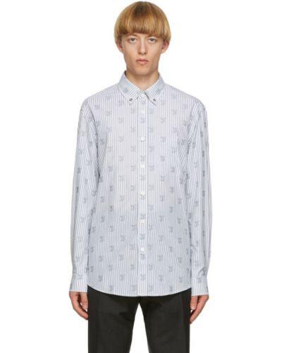 Biały koszula oxford z kołnierzem z kieszeniami z łatami Burberry