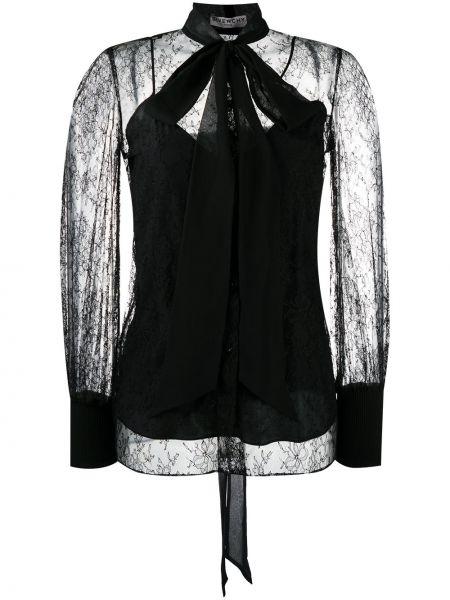 Czarny ażurowy wyposażone bluzka z długim rękawem z mankietami Givenchy
