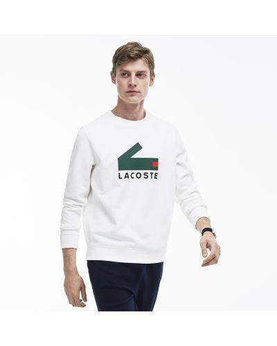 Толстовка белая с логотипом Lacoste