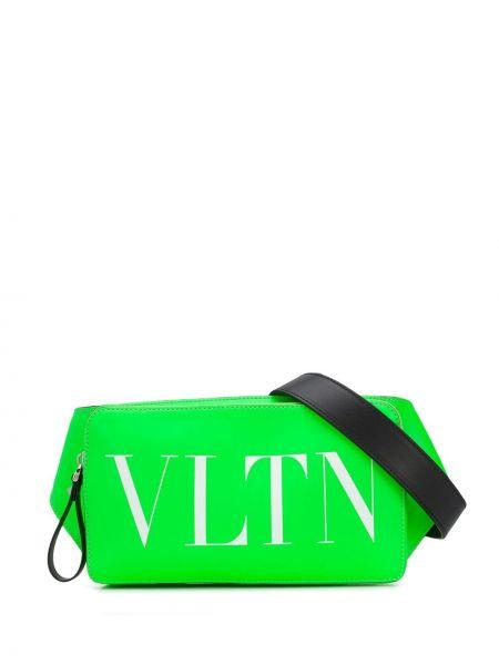 Zielony pasek skórzany z paskiem Valentino