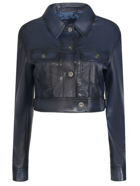 Кожаная куртка на пуговицах - синяя Prada