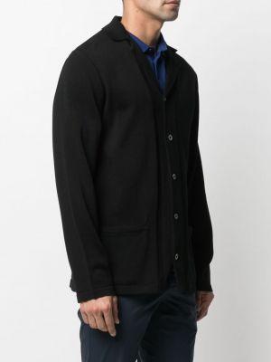 Czarny kardigan z długimi rękawami bawełniany Lardini