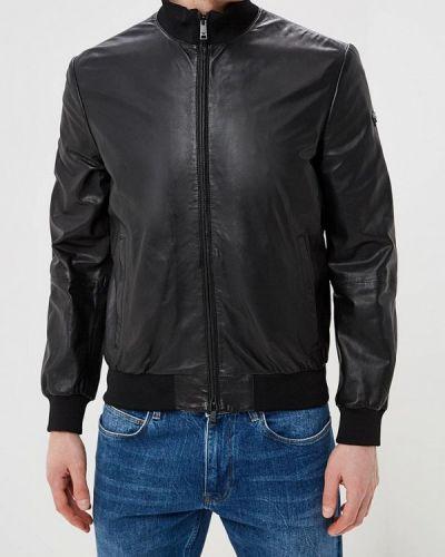Кожаная куртка черная индийский Emporio Armani