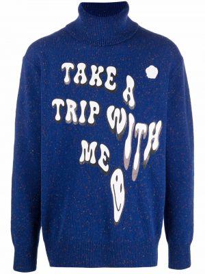 Niebieski sweter z printem Viktor & Rolf
