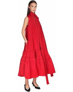 Платье миди в рубчик с воротником с карманами без рукавов Rochas
