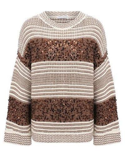 Хлопковый коричневый свитер Brunello Cucinelli