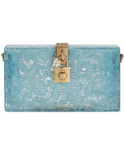 Niebieska złota kopertówka koronkowa Dolce And Gabbana