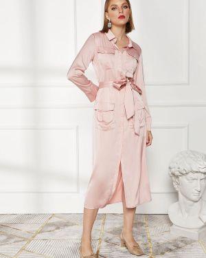 Платье с поясом розовое на пуговицах Zaful