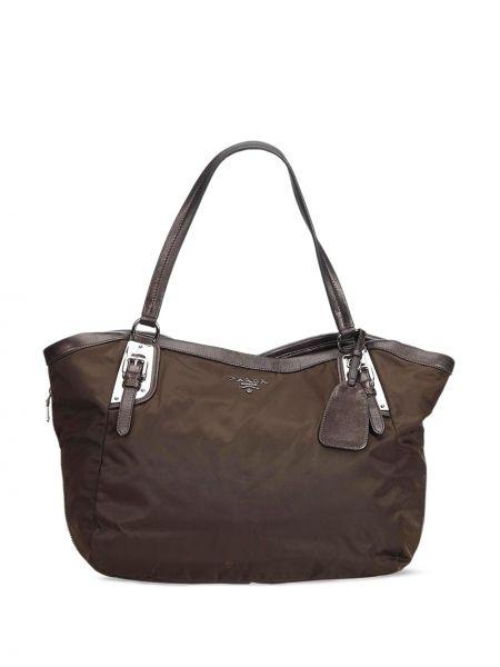 Серебряная нейлоновая сумка-тоут на молнии с карманами Prada Pre-owned