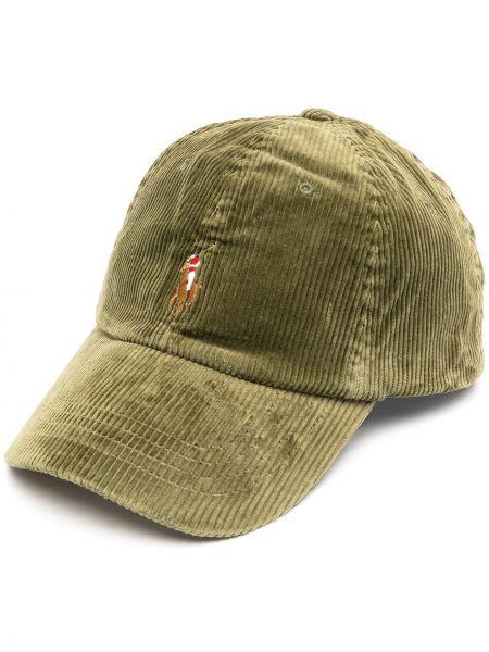 С ремешком хлопковая зеленая кепка с вышивкой Polo Ralph Lauren