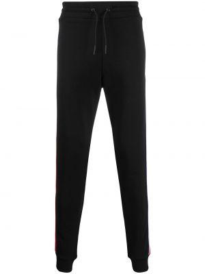 Спортивные черные зауженные брюки с карманами бязевые Rossignol