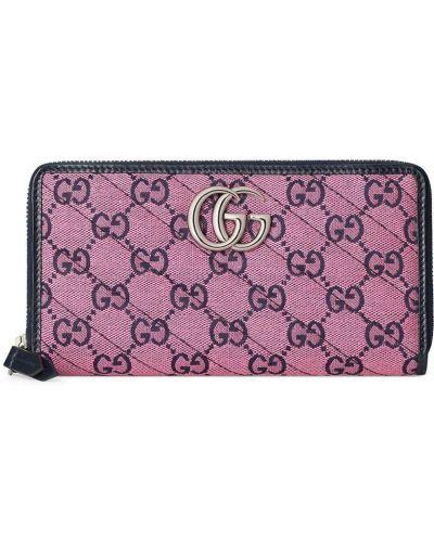 Różowy portfel skórzany z printem Gucci